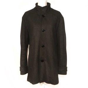 Kenneth Cole men's long black wool car coat